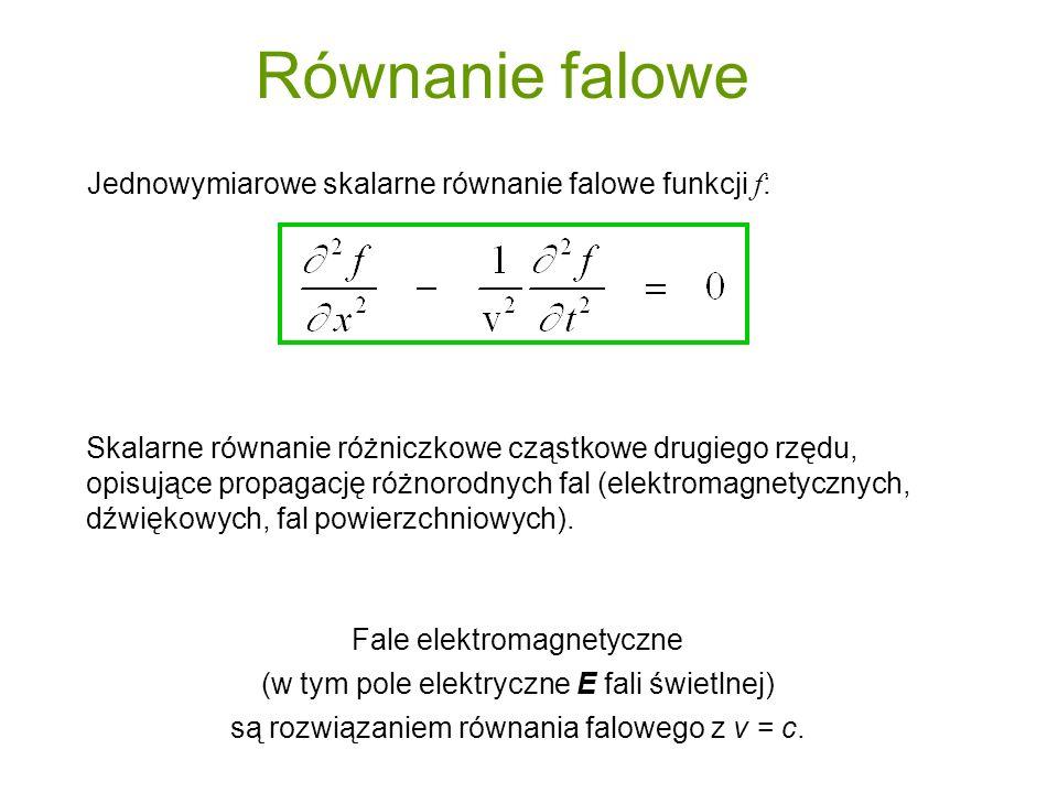 Równanie falowe Jednowymiarowe skalarne równanie falowe funkcji f: