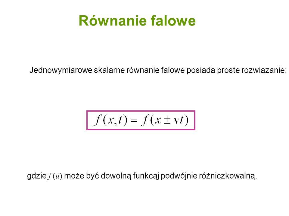 Równanie falowe Jednowymiarowe skalarne równanie falowe posiada proste rozwiazanie: gdzie f (u) może być dowolną funkcąj podwójnie różniczkowalną.