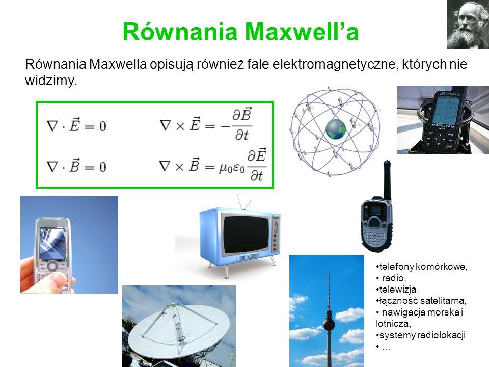 Równania Maxwell'a Równania Maxwella opisują również fale elektromagnetyczne, których nie widzimy.