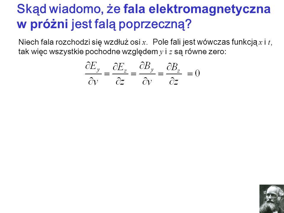 Skąd wiadomo, że fala elektromagnetyczna w próżni jest falą poprzeczną