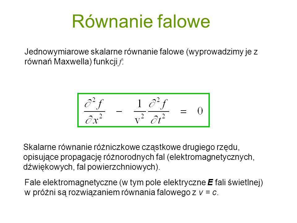 Równanie falowe Jednowymiarowe skalarne równanie falowe (wyprowadzimy je z równań Maxwella) funkcji f: