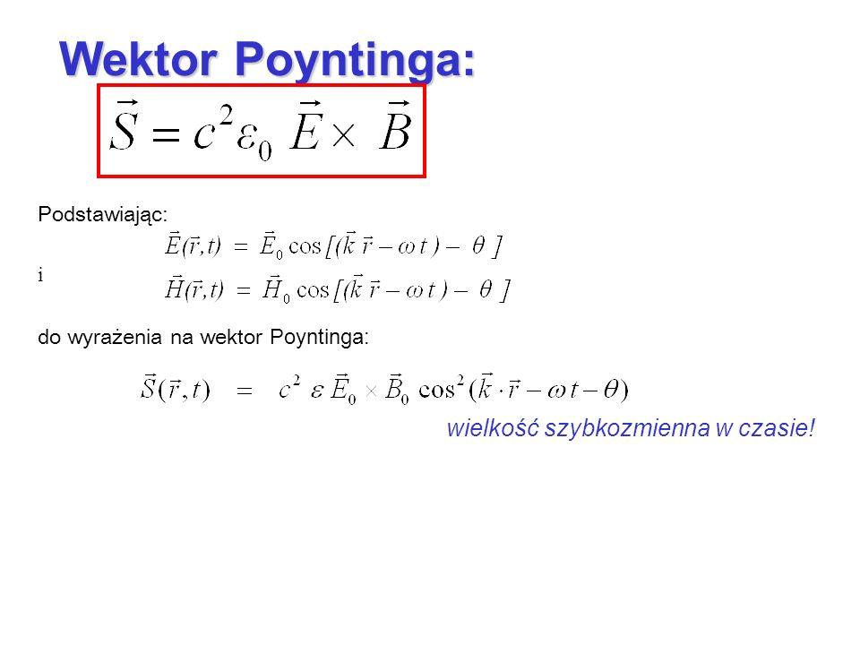 Wektor Poyntinga: wielkość szybkozmienna w czasie! Podstawiając: i