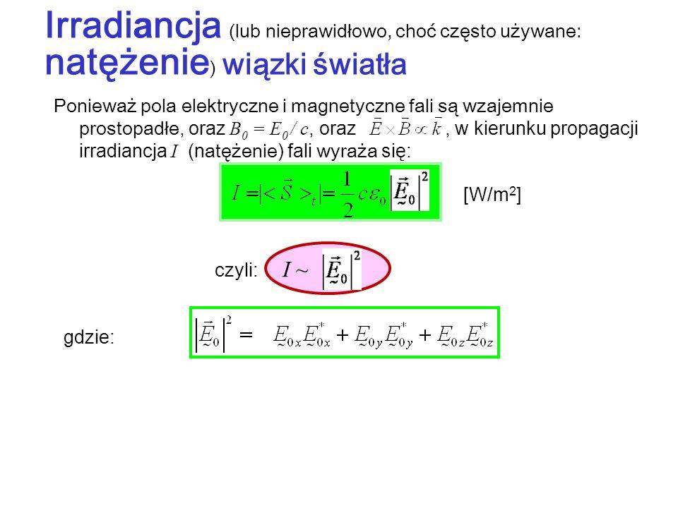 Irradiancja (lub nieprawidłowo, choć często używane: natężenie) wiązki światła