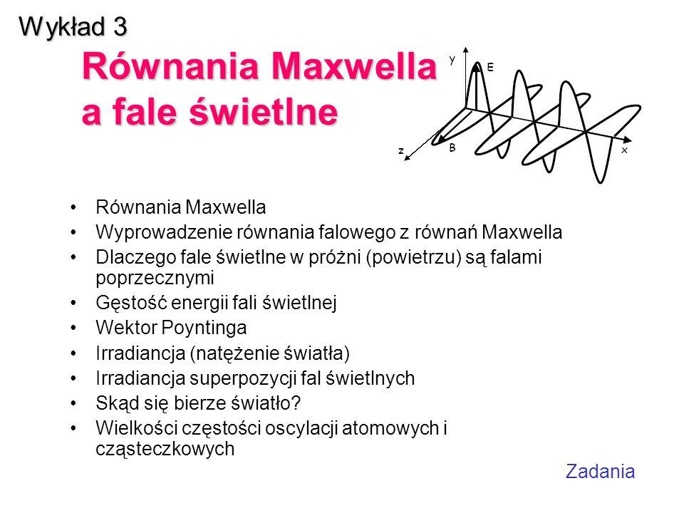 Wykład 3 Równania Maxwella a fale świetlne
