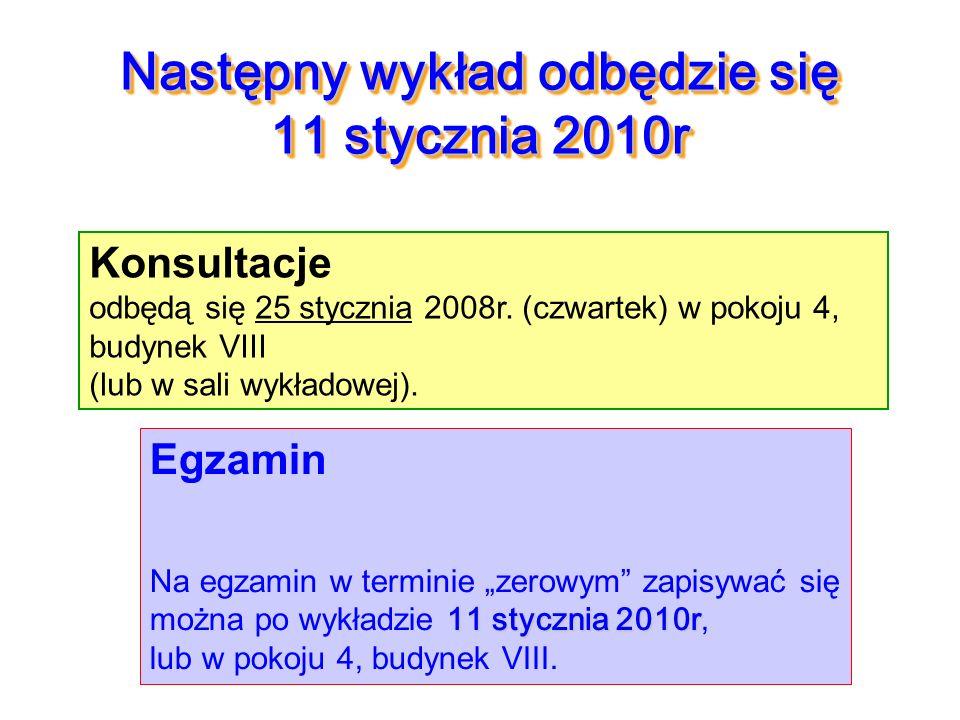Następny wykład odbędzie się 11 stycznia 2010r