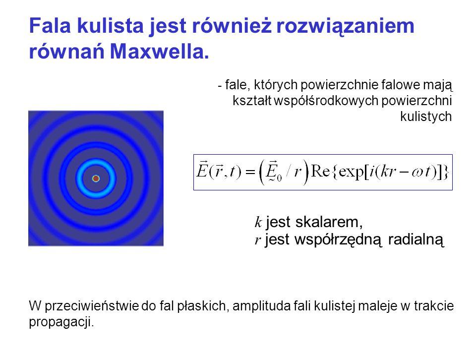 Fala kulista jest również rozwiązaniem równań Maxwella.