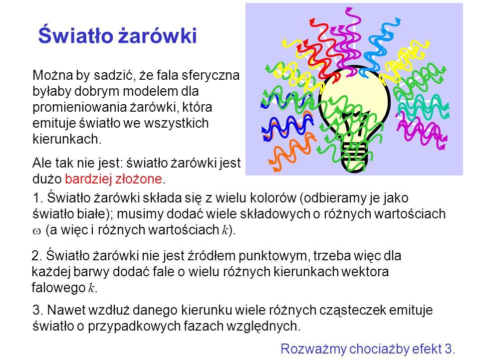 1. Światło żarówki składa się z wielu kolorów (odbieramy je jako światło białe); musimy dodać wiele składowych o różnych wartościach w (a więc i różnych wartościach k).