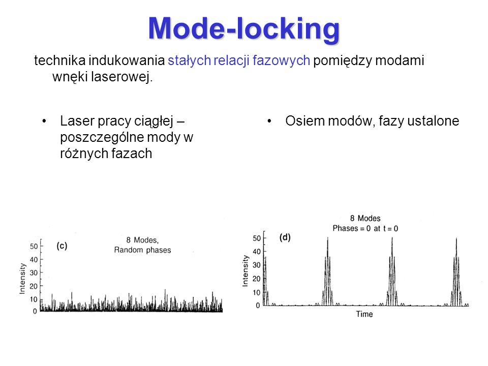 Mode-locking technika indukowania stałych relacji fazowych pomiędzy modami wnęki laserowej. Laser pracy ciągłej – poszczególne mody w różnych fazach.