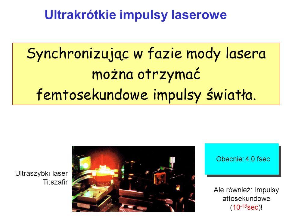 Synchronizując w fazie mody lasera można otrzymać
