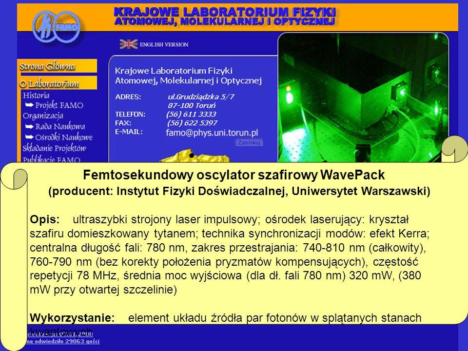 Femtosekundowy oscylator szafirowy WavePack