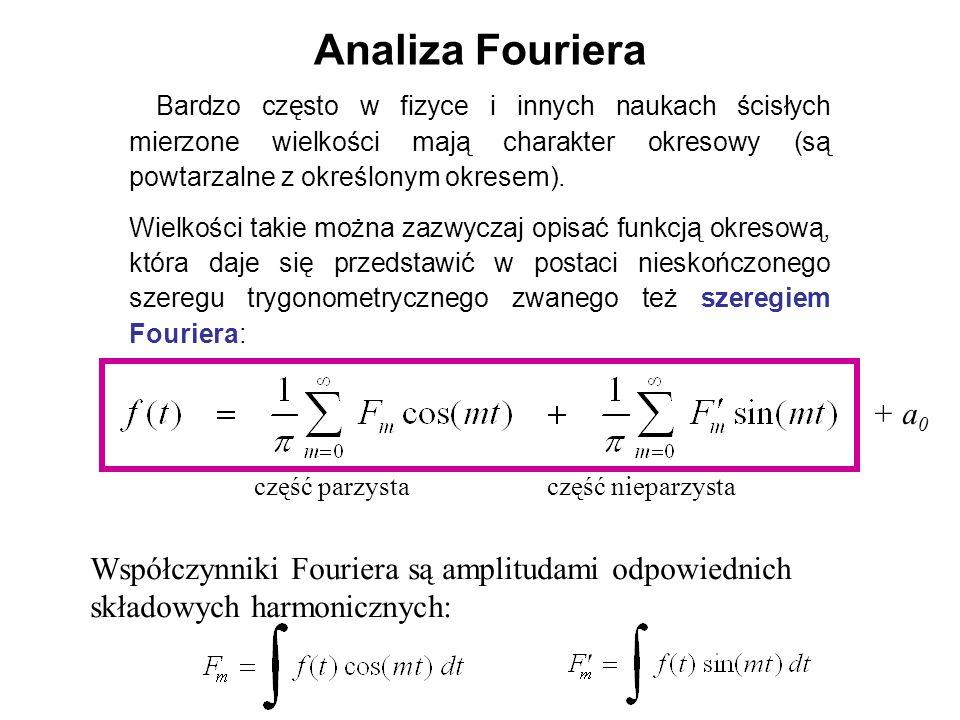 Analiza Fouriera Bardzo często w fizyce i innych naukach ścisłych mierzone wielkości mają charakter okresowy (są powtarzalne z określonym okresem).