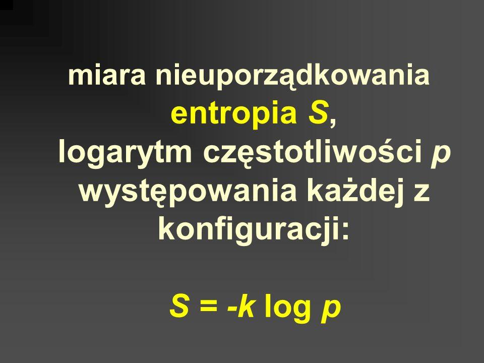 miara nieuporządkowania: entropia S, logarytm częstotliwości p występowania każdej z konfiguracji: S = -k log p