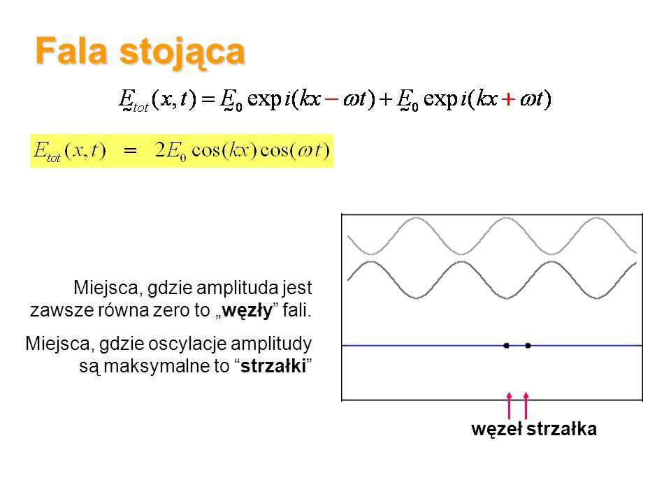 """Fala stojąca Miejsca, gdzie amplituda jest zawsze równa zero to """"węzły fali. Miejsca, gdzie oscylacje amplitudy są maksymalne to strzałki"""