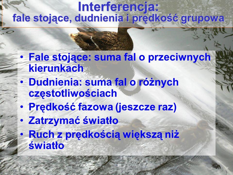 Interferencja: fale stojące, dudnienia i prędkość grupowa