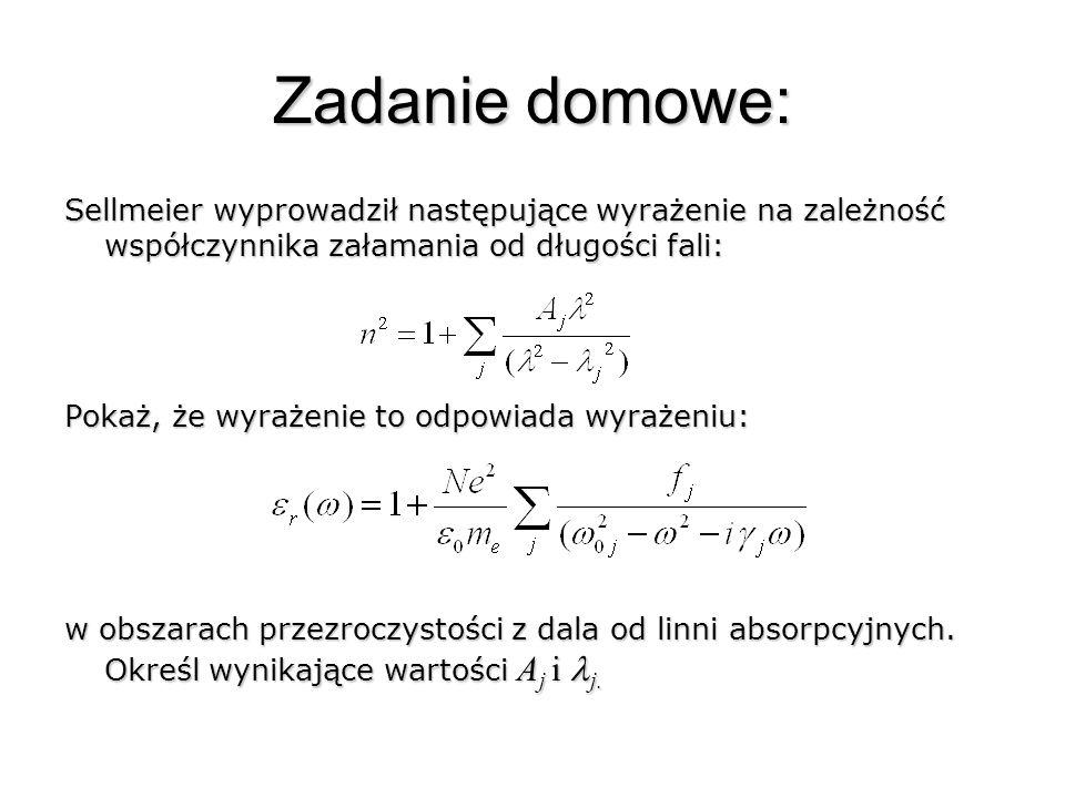 Zadanie domowe: Sellmeier wyprowadził następujące wyrażenie na zależność współczynnika załamania od długości fali:
