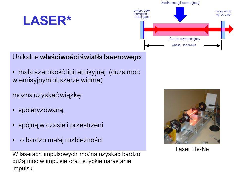LASER* Unikalne właściwości światła laserowego: