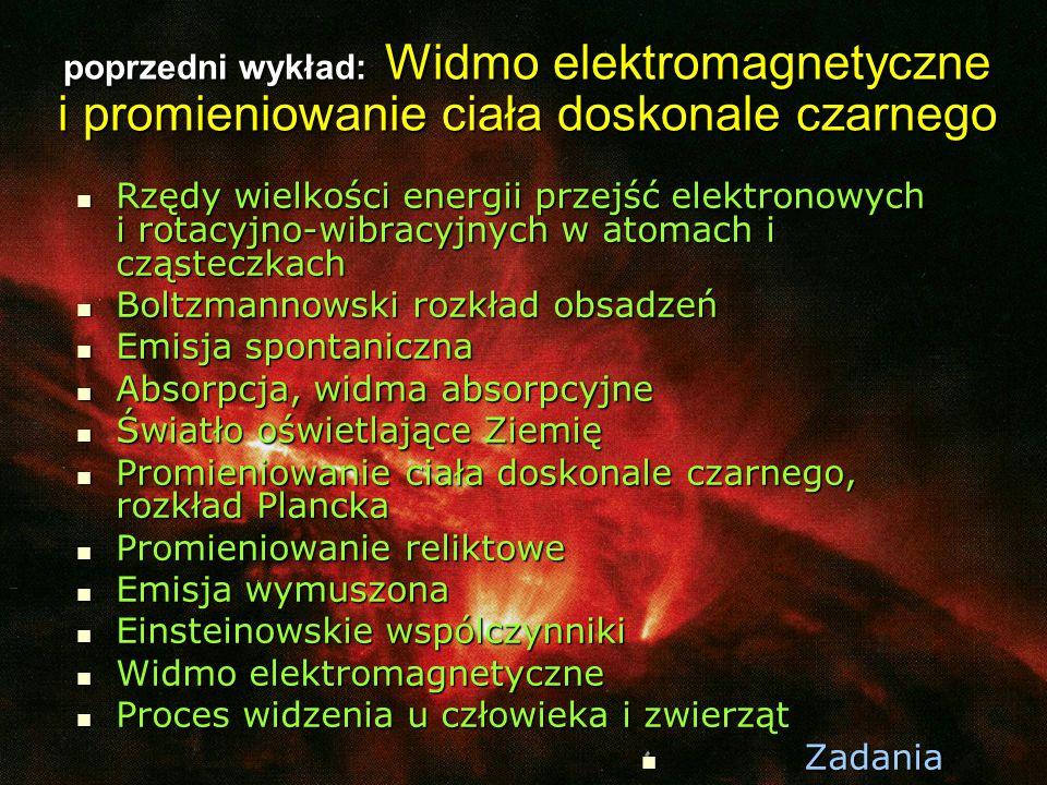 poprzedni wykład: Widmo elektromagnetyczne i promieniowanie ciała doskonale czarnego