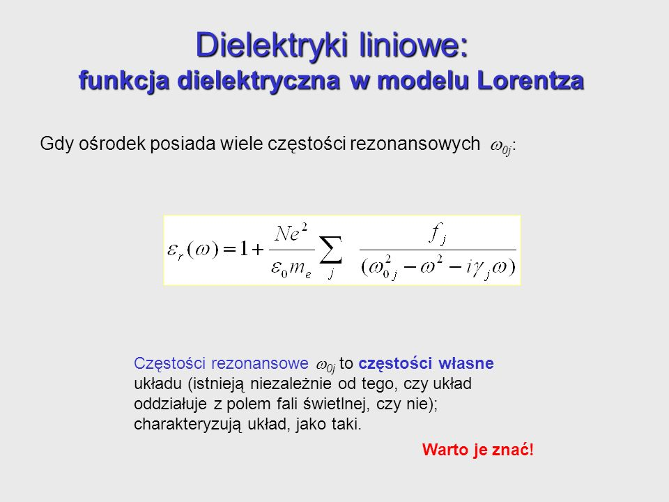 Dielektryki liniowe: funkcja dielektryczna w modelu Lorentza