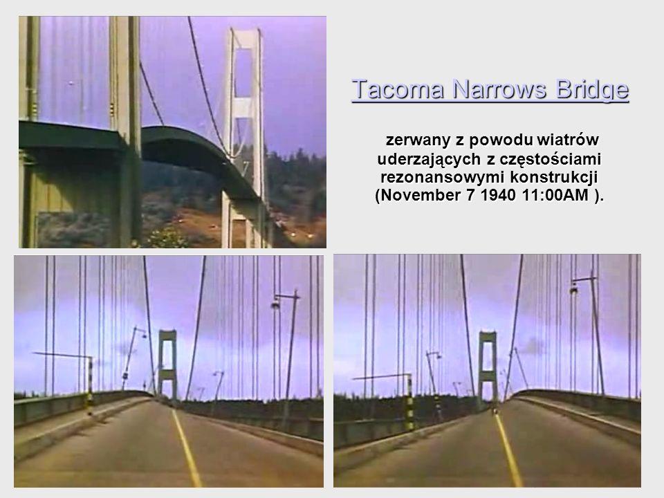 Tacoma Narrows Bridge zerwany z powodu wiatrów uderzających z częstościami rezonansowymi konstrukcji (November 7 1940 11:00AM ).