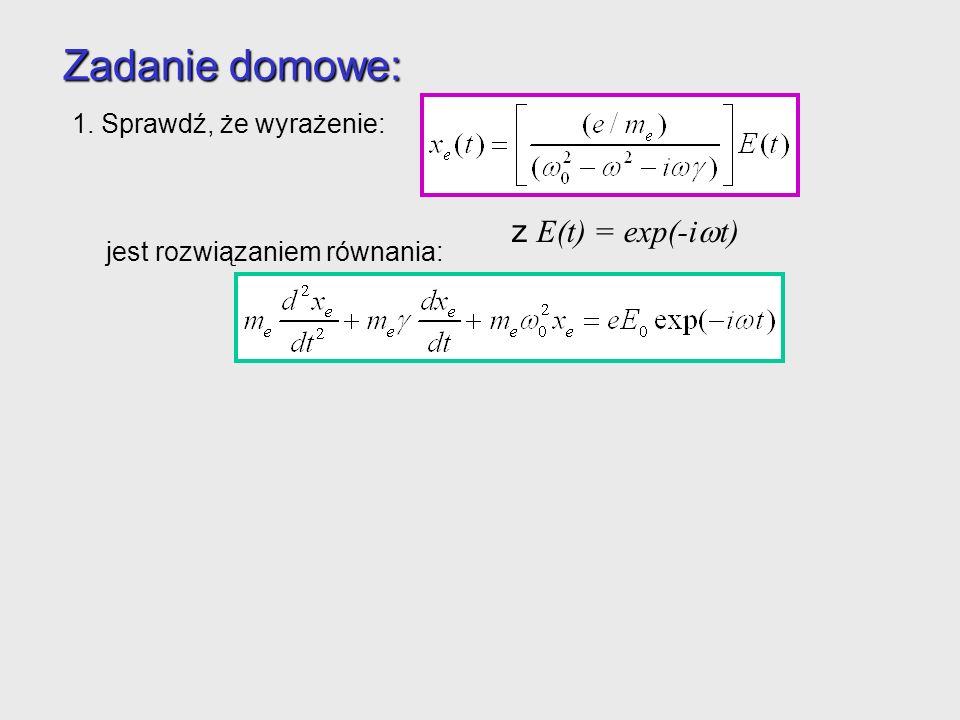 Zadanie domowe: z E(t) = exp(-iwt) 1. Sprawdź, że wyrażenie:
