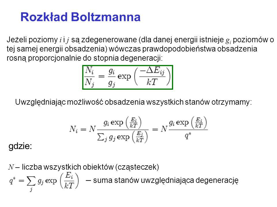 Rozkład Boltzmanna gdzie: – suma stanów uwzględniająca degenerację