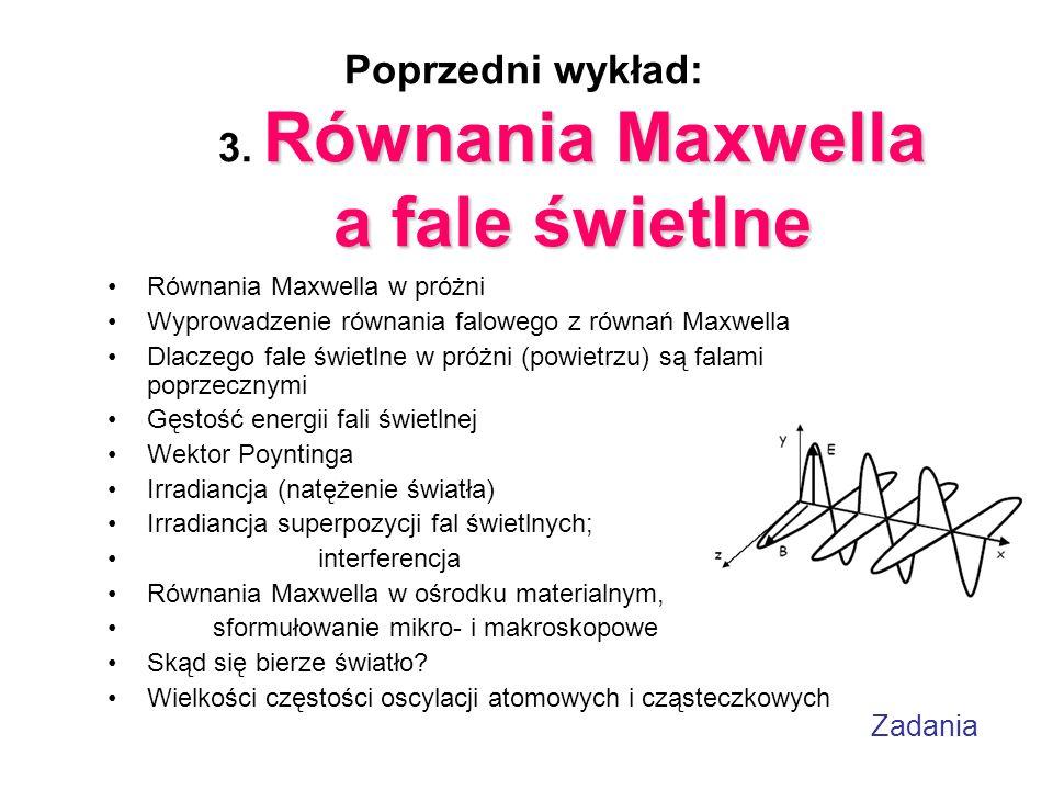 Poprzedni wykład: 3. Równania Maxwella a fale świetlne