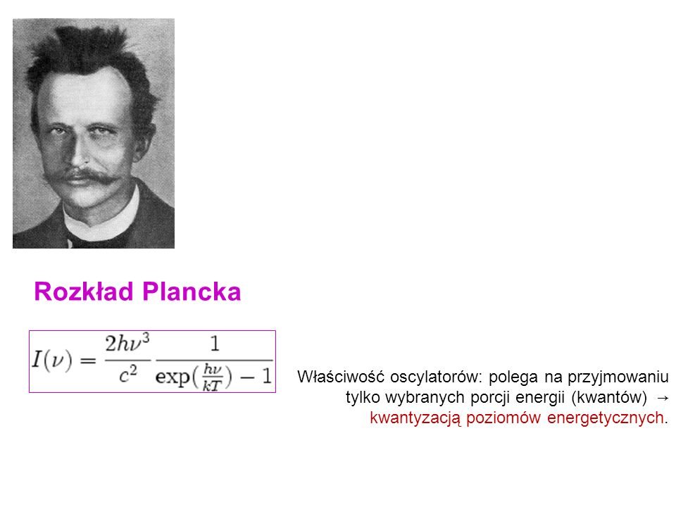 Rozkład Plancka Porcje promieniowania nazwano fotonami, a