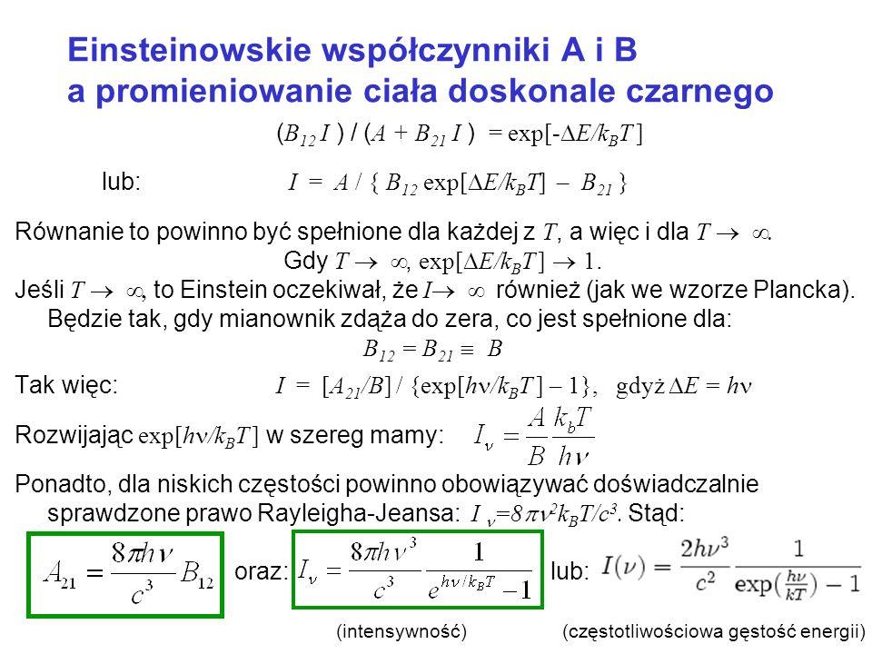 Einsteinowskie współczynniki A i B a promieniowanie ciała doskonale czarnego