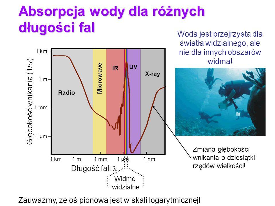 Absorpcja wody dla różnych długości fal
