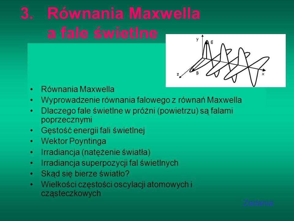 Równania Maxwella a fale świetlne