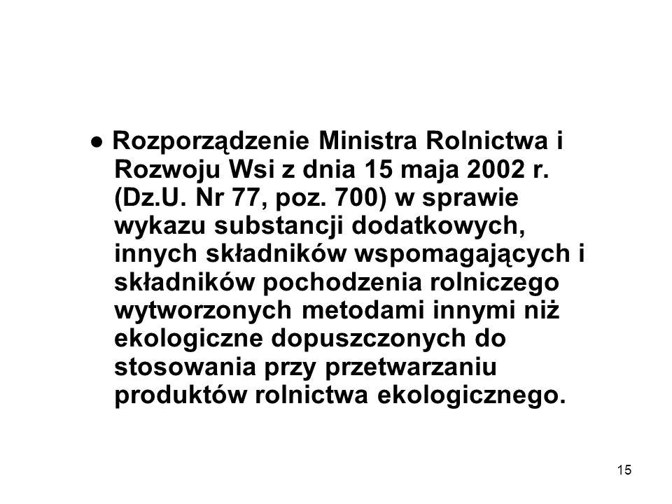● Rozporządzenie Ministra Rolnictwa i Rozwoju Wsi z dnia 15 maja 2002 r.