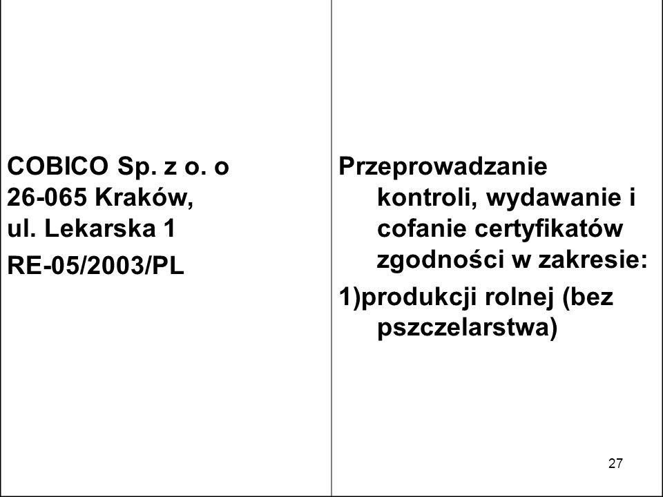 COBICO Sp. z o. o 26-065 Kraków, ul. Lekarska 1