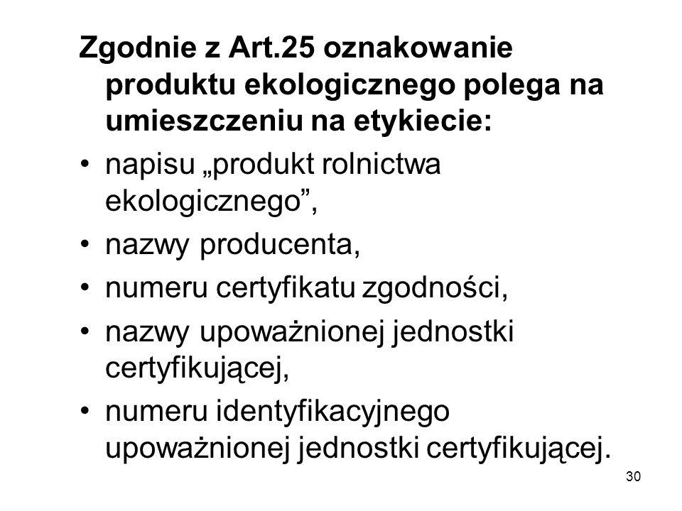 Zgodnie z Art.25 oznakowanie produktu ekologicznego polega na umieszczeniu na etykiecie: