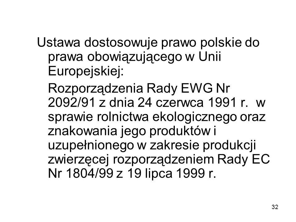 Ustawa dostosowuje prawo polskie do prawa obowiązującego w Unii Europejskiej: