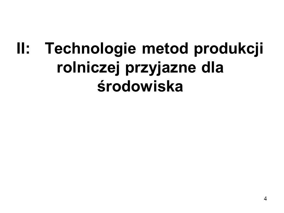II: Technologie metod produkcji rolniczej przyjazne dla środowiska