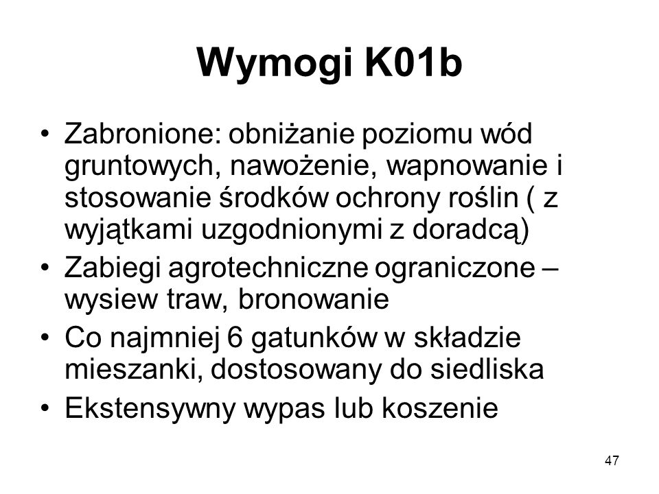 Wymogi K01b