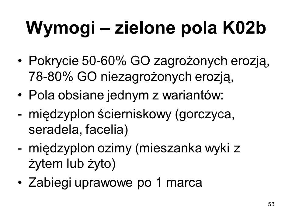 Wymogi – zielone pola K02b