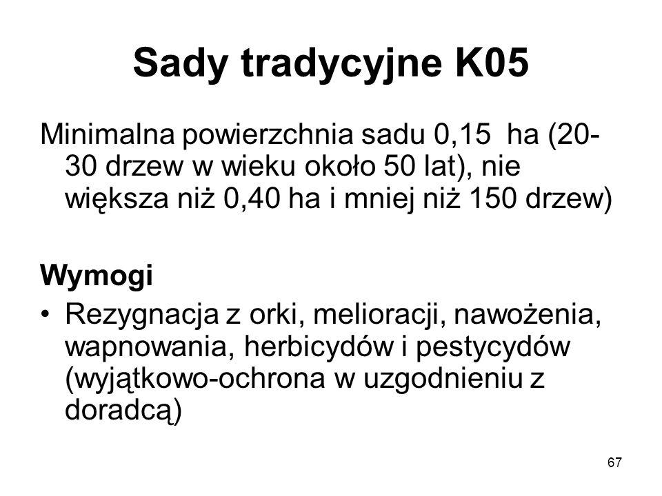 Sady tradycyjne K05 Minimalna powierzchnia sadu 0,15 ha (20-30 drzew w wieku około 50 lat), nie większa niż 0,40 ha i mniej niż 150 drzew)