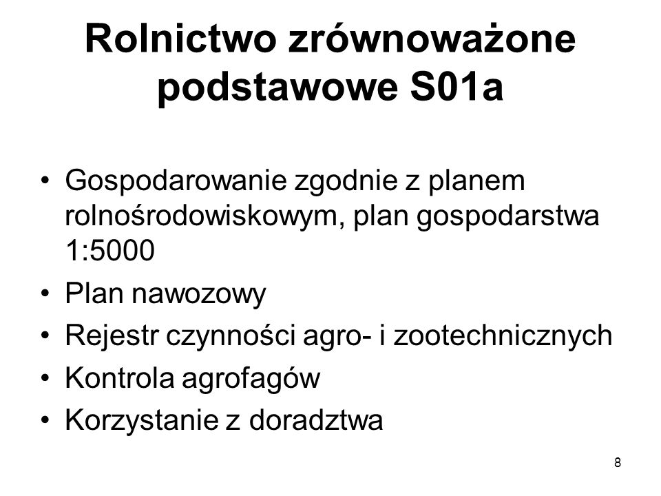Rolnictwo zrównoważone podstawowe S01a
