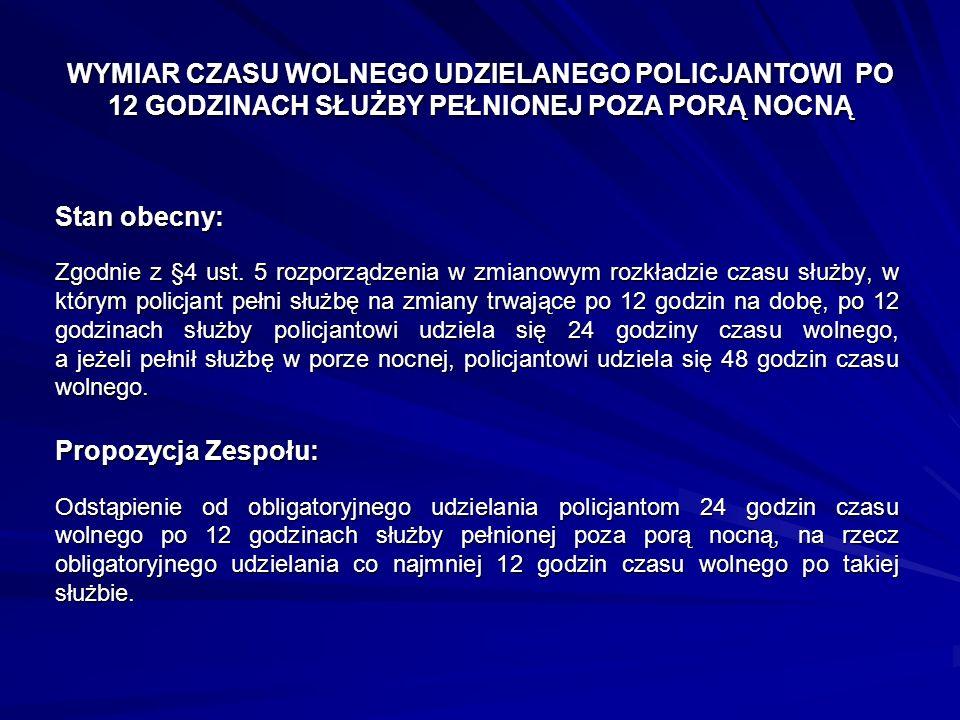 WYMIAR CZASU WOLNEGO UDZIELANEGO POLICJANTOWI PO 12 GODZINACH SŁUŻBY PEŁNIONEJ POZA PORĄ NOCNĄ