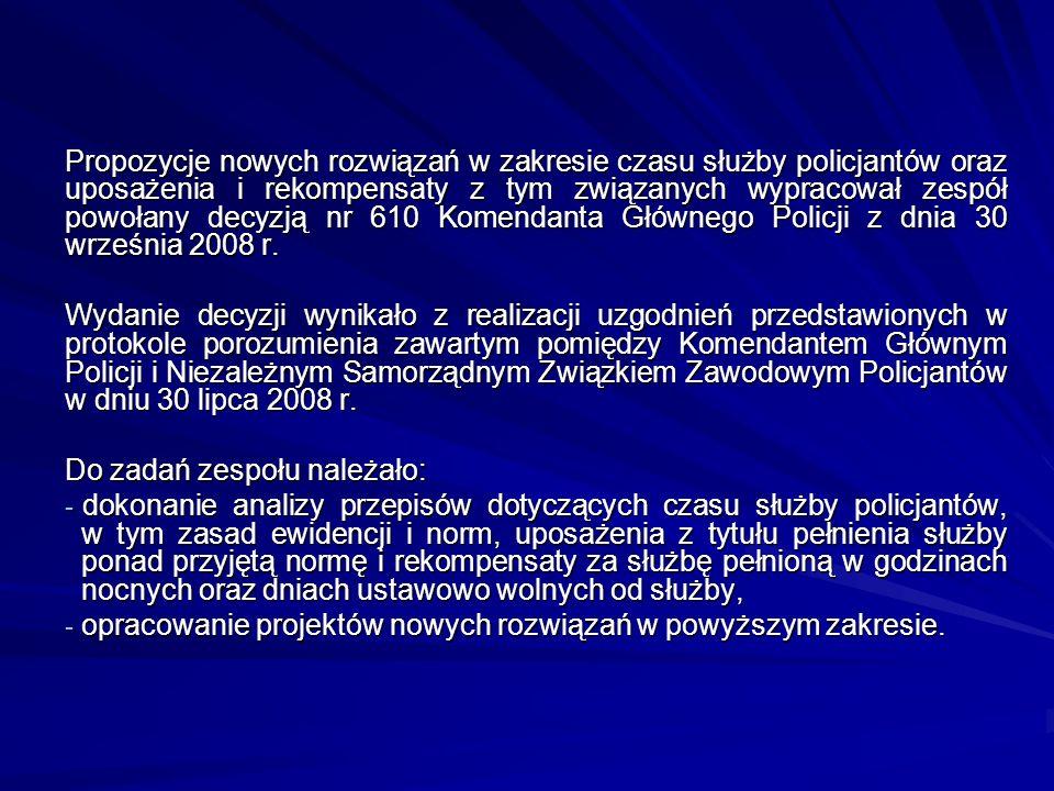 Propozycje nowych rozwiązań w zakresie czasu służby policjantów oraz uposażenia i rekompensaty z tym związanych wypracował zespół powołany decyzją nr 610 Komendanta Głównego Policji z dnia 30 września 2008 r.