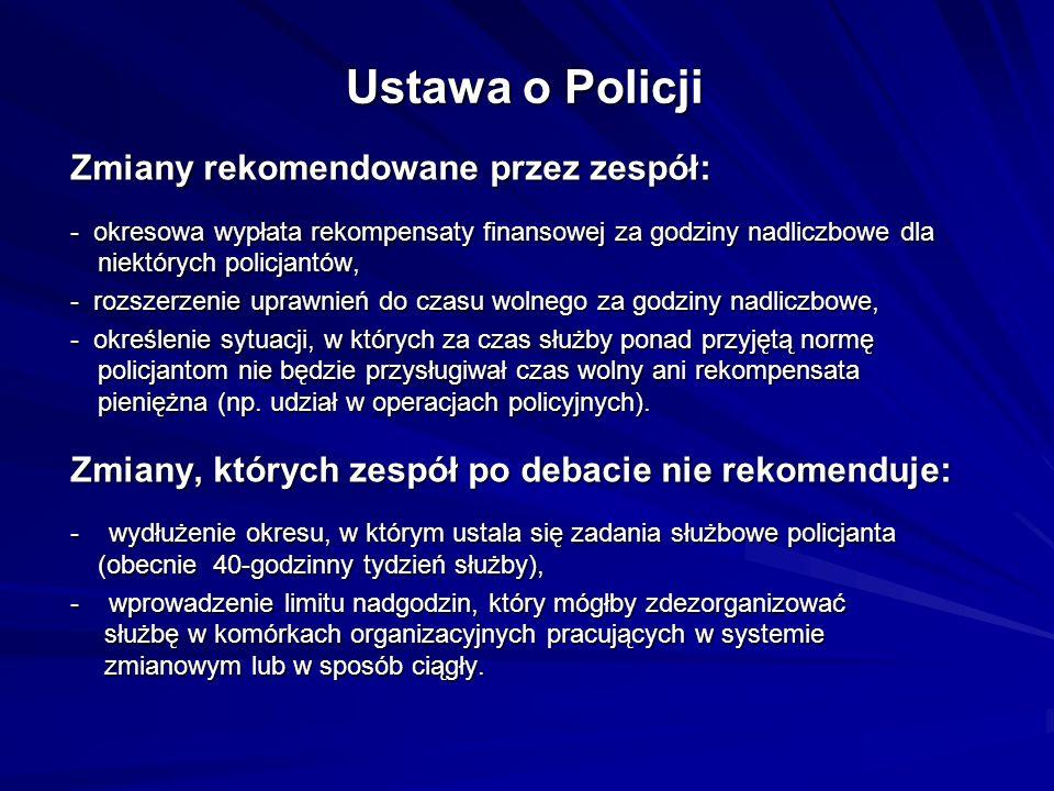 Ustawa o Policji Zmiany rekomendowane przez zespół: