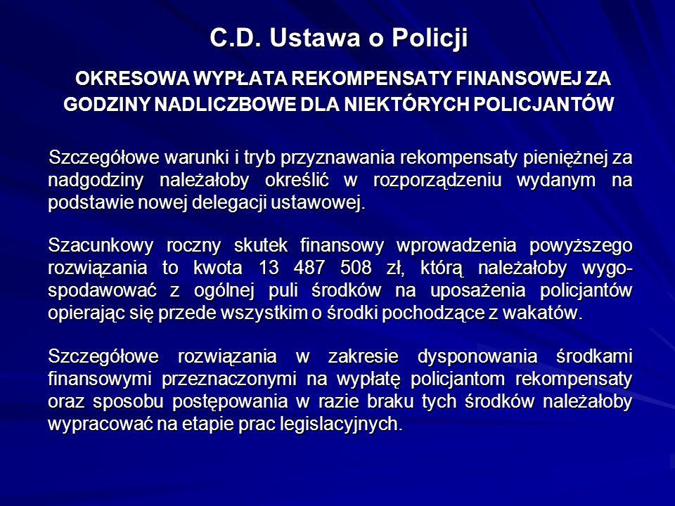 C.D. Ustawa o Policji OKRESOWA WYPŁATA REKOMPENSATY FINANSOWEJ ZA GODZINY NADLICZBOWE DLA NIEKTÓRYCH POLICJANTÓW