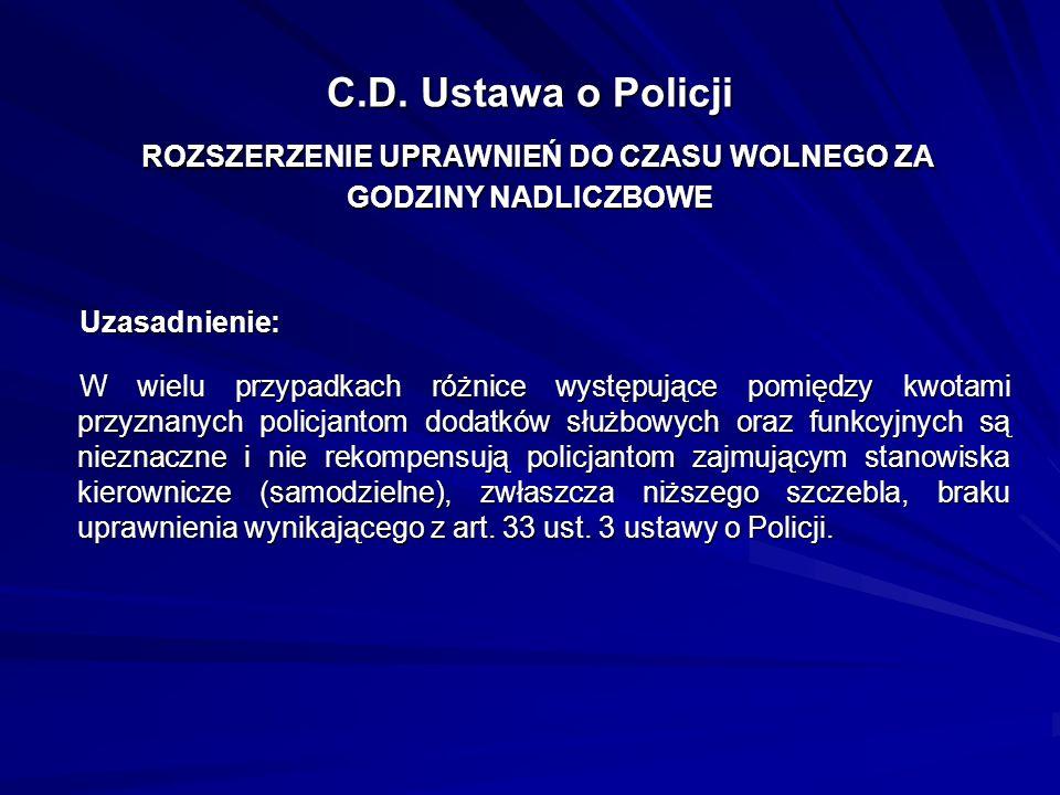 C.D. Ustawa o Policji ROZSZERZENIE UPRAWNIEŃ DO CZASU WOLNEGO ZA GODZINY NADLICZBOWE