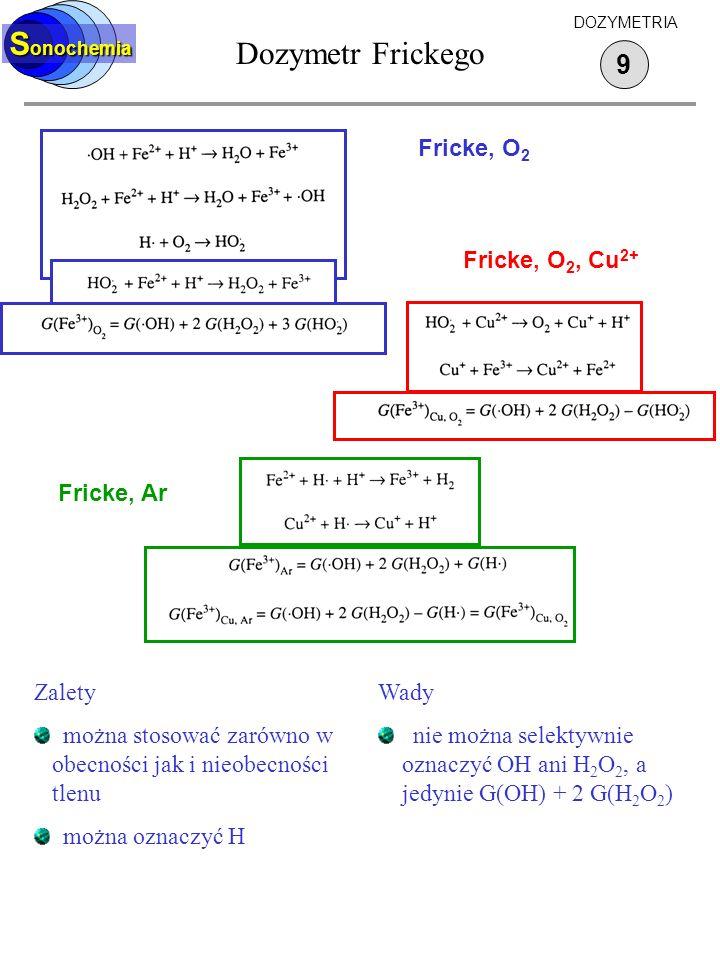 Dozymetr Frickego Sonochemia 9 Fricke, O2 Fricke, O2, Cu2+ Fricke, Ar