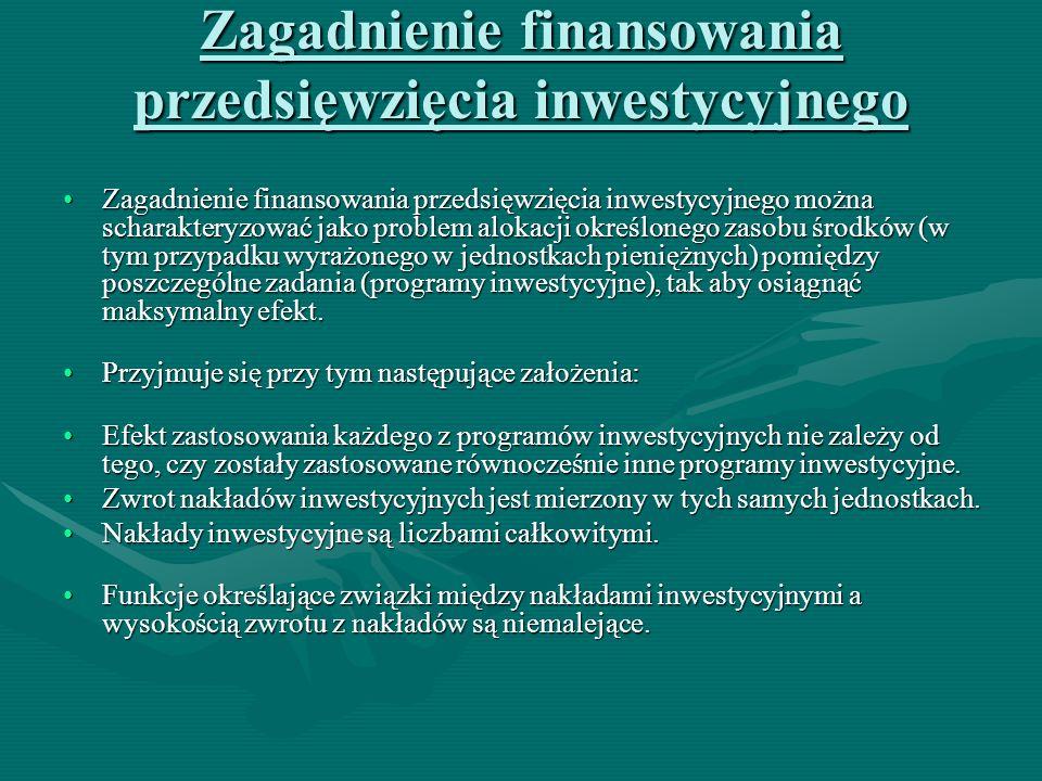 Zagadnienie finansowania przedsięwzięcia inwestycyjnego