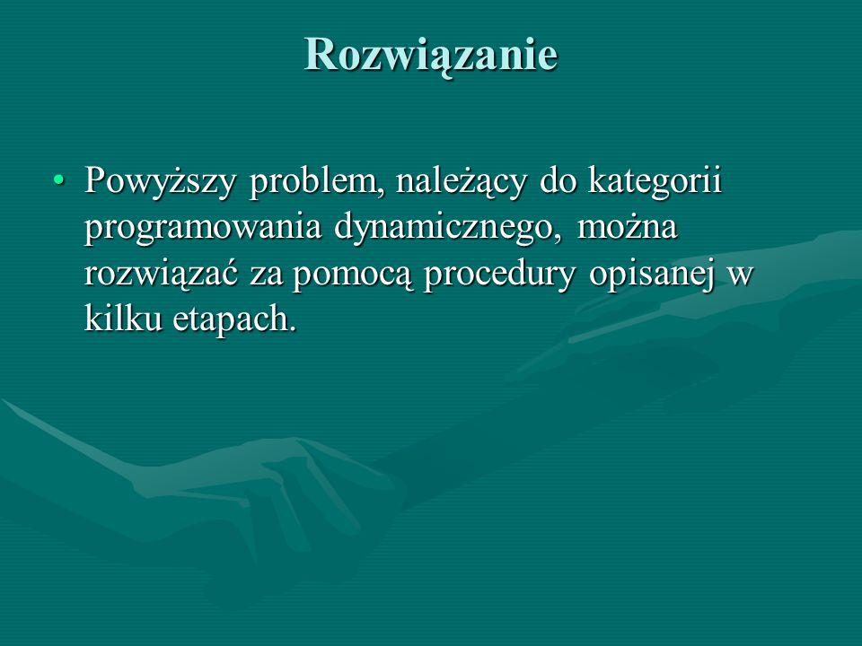 Rozwiązanie Powyższy problem, należący do kategorii programowania dynamicznego, można rozwiązać za pomocą procedury opisanej w kilku etapach.