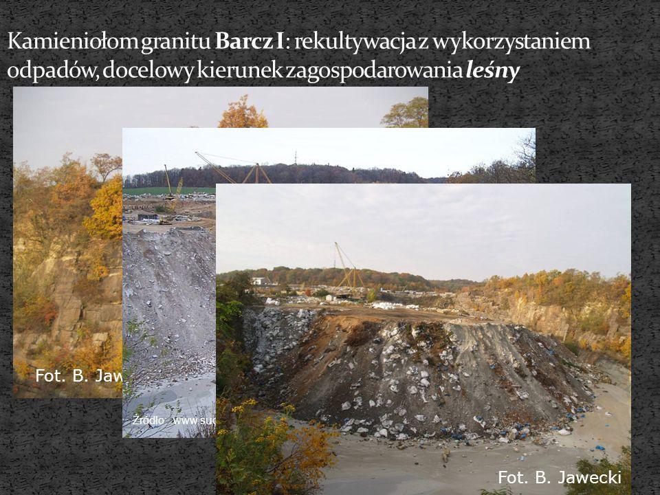 Kamieniołom granitu Barcz I: rekultywacja z wykorzystaniem odpadów, docelowy kierunek zagospodarowania leśny