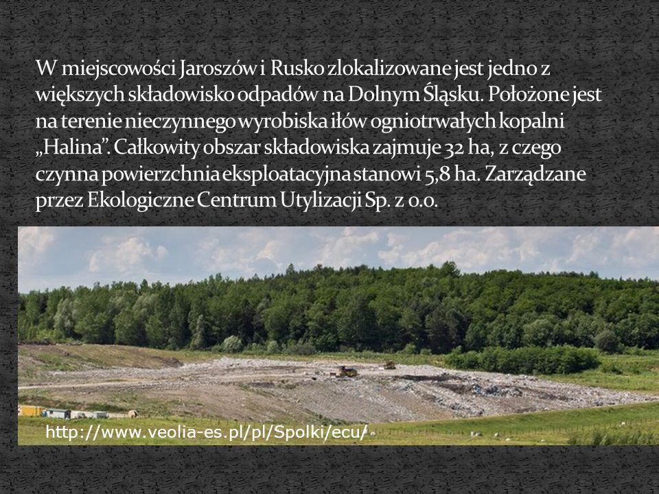 """W miejscowości Jaroszów i Rusko zlokalizowane jest jedno z większych składowisko odpadów na Dolnym Śląsku. Położone jest na terenie nieczynnego wyrobiska iłów ogniotrwałych kopalni """"Halina . Całkowity obszar składowiska zajmuje 32 ha, z czego czynna powierzchnia eksploatacyjna stanowi 5,8 ha. Zarządzane przez Ekologiczne Centrum Utylizacji Sp. z o.o."""