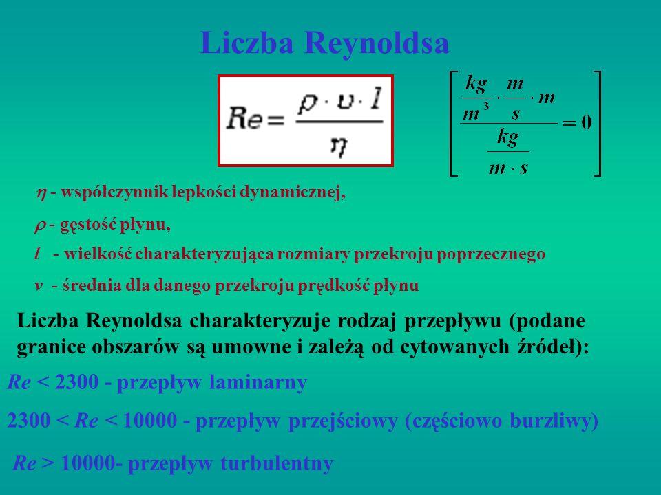 Liczba Reynoldsal - wielkość charakteryzująca rozmiary przekroju poprzecznego.  - współczynnik lepkości dynamicznej,